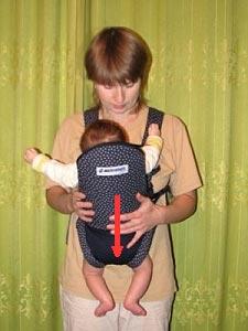 Ребенок в кенгурушке, распределение веса