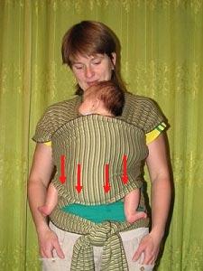 Ребенок в слинге-шарфе, распределение веса