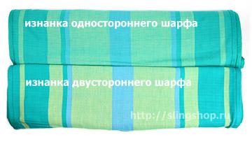 Гирасол, изнанка одностороннего и двухстороннего шарфов