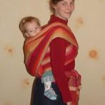 «Крест над карманом на спине» — инструкция к слингу-шарфу (после года)