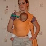 Вертикальное положение на животе у мамы в слинге с кольцами